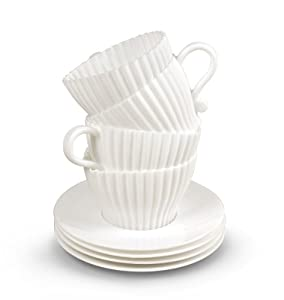 TEACUPCAKES Baking Cups, Set of 4 Cups and Saucers