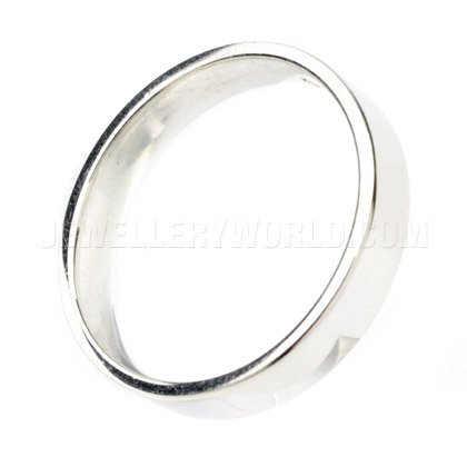 4mm 18ct White Gold Flat Court Wedding Ring