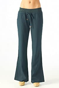 Women's wide leg flared tunic linen pants with a banded drawstring waist