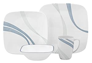 Corelle Square Round 16-Piece Dinnerware Set Ocean Arc