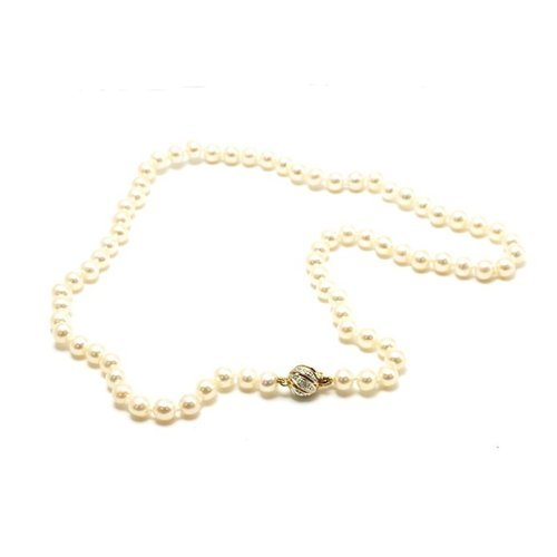 Toc 9ct Yellow Gold Pearl Necklace with Diamond Clasp