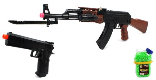 (Combo) Velocity Airsoft Ak-47 585+ Spring Airsoft Gun Fps-200 + Armed Defense Electric Blowback Airsoft Pistol Full Auto Fps-180 + 1000 Bb'S Clip-On Holster Container