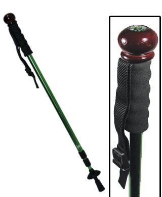 Collapsible Aluminum Shock-Absorbing Hiking Pole - Walking Stick With Camera Mono-Pod (Colors May Vary)
