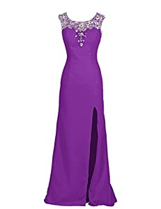 Dresstells Long Formal Party Dress Wedding Dress Prom Dress with Slit and Beadings Purple Size 26W