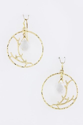 Baubles & Co Circle Branced Cut Bead Earrings (Clear) front-973463