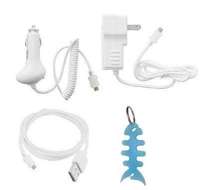 "Accessories Charging Combo Kit: Wall Charger, Car Charger, Usb Data Cable + Fishbone Style Keychain For The New Kindle Family 2011 Model (Kindle Wi-Fi, 6"" E Ink Display And Kindle Touch / Kindle Touch 3G Wi-Fi, 6"" E Ink Display)"