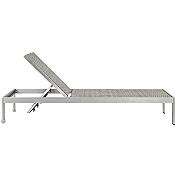 Modway Shore Outdoor Patio Aluminum Chaise Lounge Chair, Silver Gray