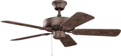 Kichler Lighting 414SNB Basics Patio 42-Inch Damp Rated Ceiling Fan, Satin Natural Bronze Finish with Brown Abs Blades