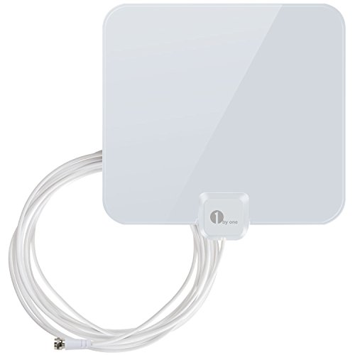 1byone OUS00-0565 Shiny Antenna 25 Miles Super Thin HDTV Antenna with 16.5ft High Performance Coaxial Cable