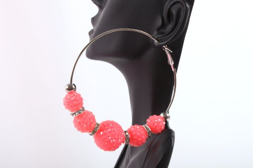 Neon Pink Shamballah 3 Inch Hoop Earrings with 5 Disco Balls and 4 Iced Out Rondelle Loops Basketball Mob Wives Lady Gaga Poparazzi