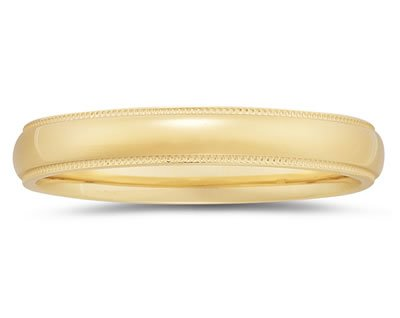 4mm Milgrain Edge Men's Wedding Band in 14k Yellow Gold