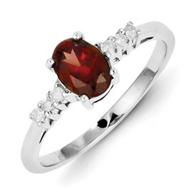 Genuine IceCarats Designer Jewelry Gift Sterling Silver Rhodium Garnet & Diamond Ring Size 6.00
