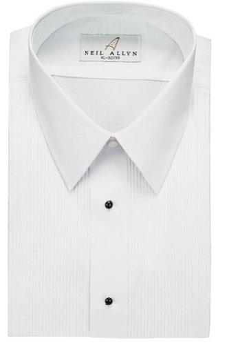 Neil allyn men s tuxedo shirt poly cotton laydown collar 1 for Tuxedo shirt without studs