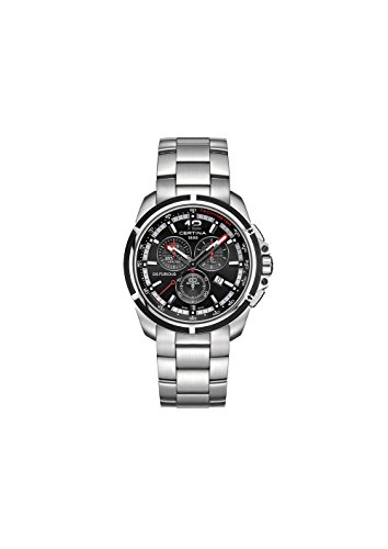 Certina Men's DS Furious 42mm Steel Bracelet & Case Quartz Black Dial Analog Watch C011.417.21.057.00