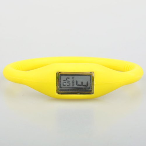 BestDealUK Sport Band Yellow Silicone Watch Date Time Water Resist