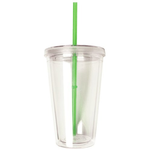 Eco To Go Cold Drink Tumbler - Double Wall -16Oz. Capacity - Clear - Green Straw front-519123