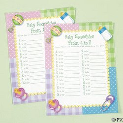"OTC - 24 pc Baby Shower Game - Baby Necessities from A to Z, Siza 8 1/2""x11"""