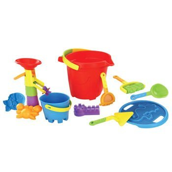 Beach Fun Toy Set: 15 Piece Sand & Water Play Set: Includes Shovels, Sand Molds and Bucket