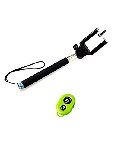 Xrexs ® Self Portrait Self Shot Monopod Selfie Stick + Phone Holder +With Bluetooth Remote Camera Wireless Shutter For Samsung Iphone (Black And Green) front-354330