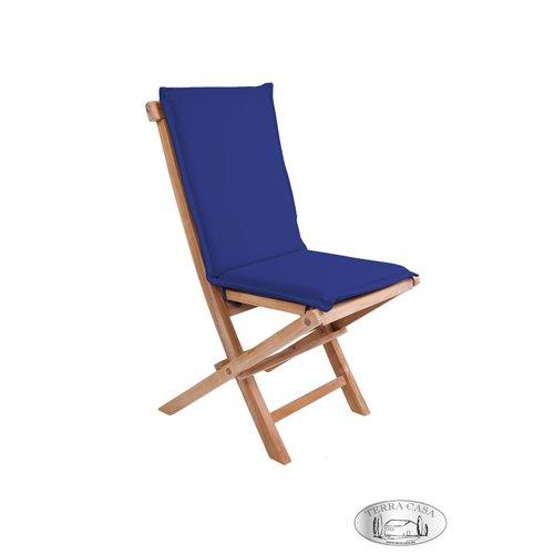Stuhlauflage Hochlehner MANADO, Stuhlkissen blau, Sitzkissen, Auflage für Gartenmöbel, Gartenstuhl Premiumqualität günstig kaufen