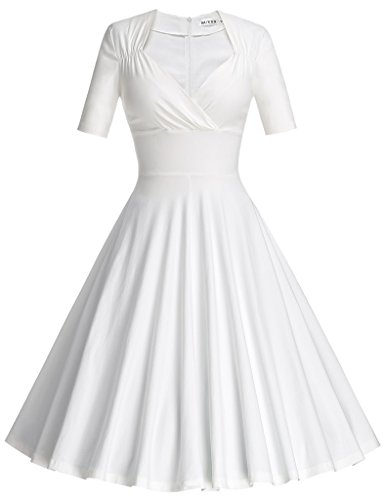 MUXXN Women's 50s 60s Retro Style Fit and Flare Formal Juniors Dress (White XL)