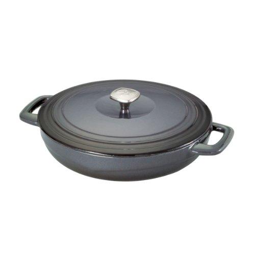 Guy Fieri 5099841 Porcelain Cast Iron Braiser Pan, 3-1/2-Quart, Graphite front-91859