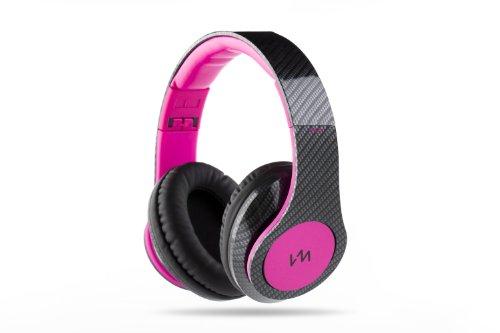 Vm Audio Elux Over Ear Dj Stereo Mp3 Iphone Bass Headphones - Carbon Fiber/Pink