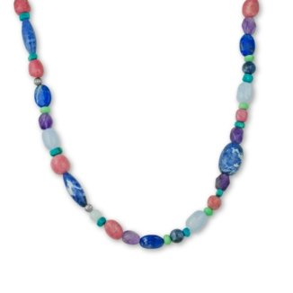Sterling Silver Pastel Gemstone Long Beaded Necklace - 36