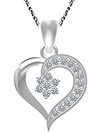 Valentine Gift Silver And Silver Plated Heart Shape Pendant With Chain For Girl And Women