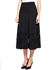 M&S Collection Sheer Panelled Pleated A-Line Long Skirt