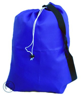 Small Laundry Bag With Drawstring, Carry Strap, Locking Closure, Color: Royal Blue, Size: 22X28 front-587253
