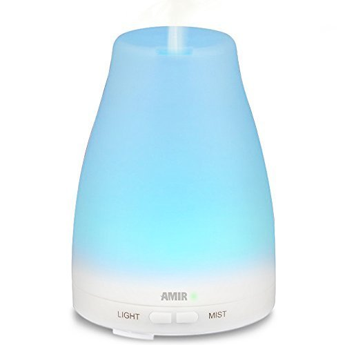 Amir 100ML Ultrasonic Aromatherapy Oil Diffuser Cool Mist With Color LED Lights and Waterless Auto Shut-off Fuction for Home, Yoga, Office, Spa, Bedroom, Baby Room