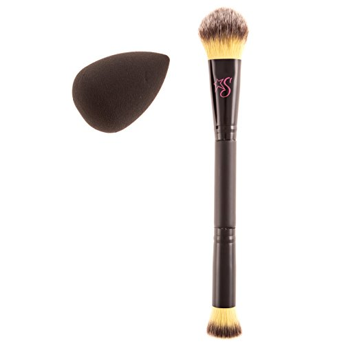 Stashia Contour Brush and Blend Set Dual End Makeup Pro Series Cruelty Free with Face Blending Sponge