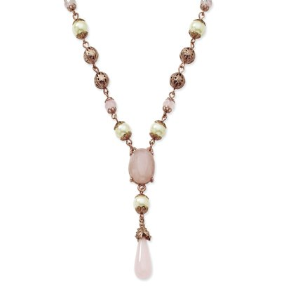 Rose-tone Cultura Glass Pearl Rose Quartz Y 16 In Necklace - JewelryWeb