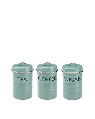 Typhoon Set of 3 Vintage-Kitchen Canisters, Summerhouse Blue