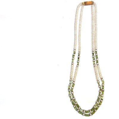 Pearl Necklace 01 Multi-strand Peridot Green White Double Layered Crystal Beaded 16