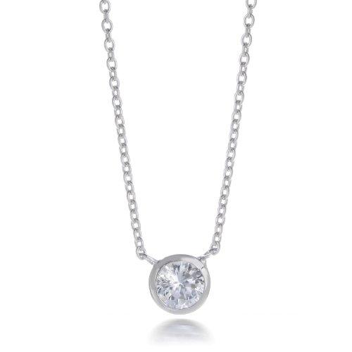Sterling Silver Bezel Set CZ Necklace 16
