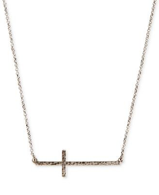 Lucky Brand Hammered Silver Cross Bar Necklace - Fashion Jewelry