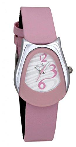 Quartz Elfin Women's Genuine Leather Quartz Analogue Pink Dial Watch (ELF7024C) (Multicolor)