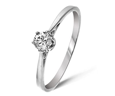 Classical 9 ct White Gold Ladies Solitaire Engagement Diamond Ring Brilliant Cut 0.20 Carat JK-I3
