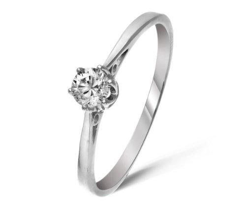 Classical 9 ct White Gold Ladies Solitaire Engagement Diamond Ring Brilliant Cut 0.20 Carat JK-I3 Size M
