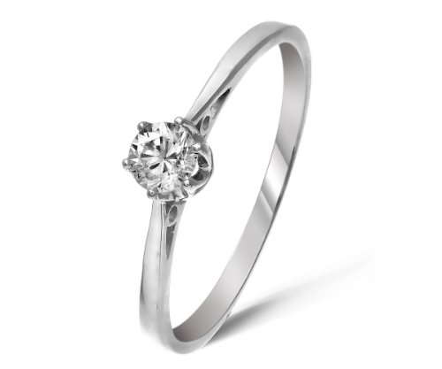 Classical 9 ct White Gold Ladies Solitaire Engagement Diamond Ring Brilliant Cut 0.20 Carat JK-I3 Size L