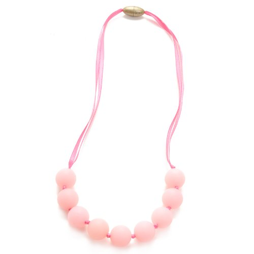 Chewbeads Juniorbeads Madison Necklace - Teething Jewelry - Soft on Infant's Gums and Teeth - 100% Safe Silicone - Easily Cleaned, Dishwasher Safe - Glow in the Dark - Bubble Gum Pink (Jewelry In The Dishwasher compare prices)