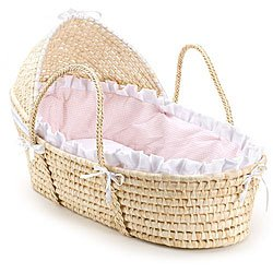 Buy Bargain MPN: 00876 Badger Basket Company Natural Baby Moses Basket with Hood - Pink Gingham Bedd...