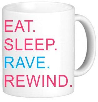 Rikki Knighttm Eat Sleep Rave Rewind Pink & Blue Design 11 Oz Photo Quality Ceramic Coffee Mug Cup - Fda Approved - Dishwasher And Microwave Safe
