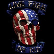 Live Free Or Die Biker T-shirt, Chopper T-shirts, Motorcycle T-shirts, XXX-Large, Black