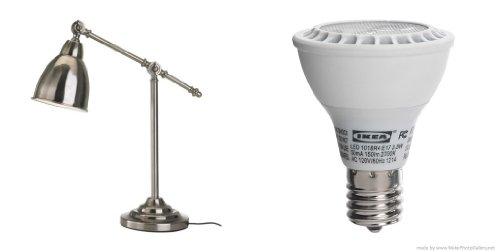 Ikea'S Barometer Work Lamp, Nickel Plated And Ledare Led Bulb E17 Reflector R14