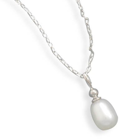 Sterling Silver 18 Inch Rhodium Plated Cultured Freshwater Pearl Drop Necklace