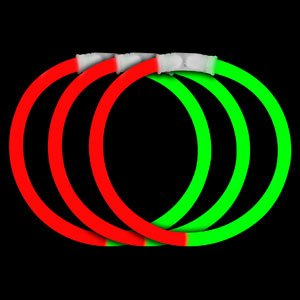 Fun Central B30 8 Inch Glow in the Dark Bracelets - Red-Green - 1