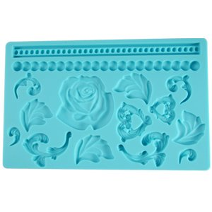 Cake Decorating Borders : Rose / Heart / Leaves / Beads cake borders - Silicone Cake ...